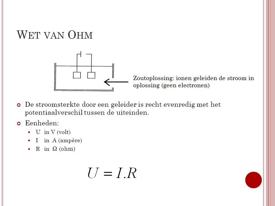 C ONDUCTOMETRISCHE TITRATIES Conductometrische titraties: Zuur en een Base Stof toevoegen totdat de weerstand (R) omlaag schiet Omrekenen naar geleidbaarheid (S) S=1/R Geleidbaarheid en (m)mol tegen elkaar uitzetten