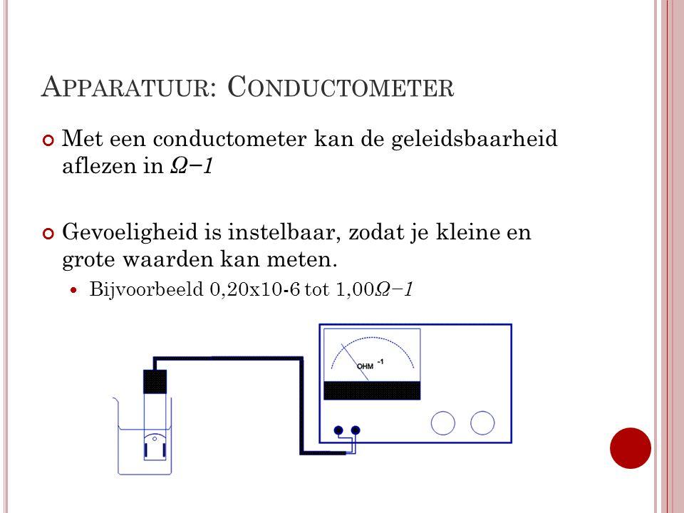 A PPARATUUR : P RINCIPE VAN DE METING Weerstand meten met de brug van Wheatstone Gebaseerd op als R1 en R2 gelijk is aan de verhouding tussen Rx en R3 er geen spanning wordt gemeten d.m.v.