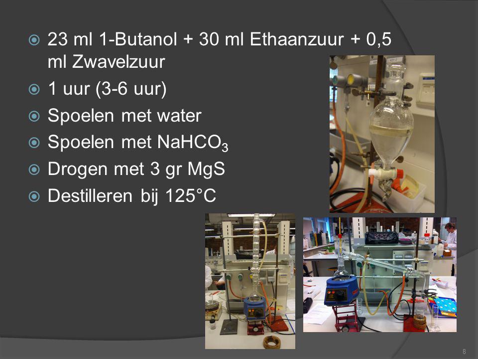  23 ml 1-Butanol + 30 ml Ethaanzuur + 0,5 ml Zwavelzuur  1 uur (3-6 uur)  Spoelen met water  Spoelen met NaHCO 3  Drogen met 3 gr MgS  Destiller