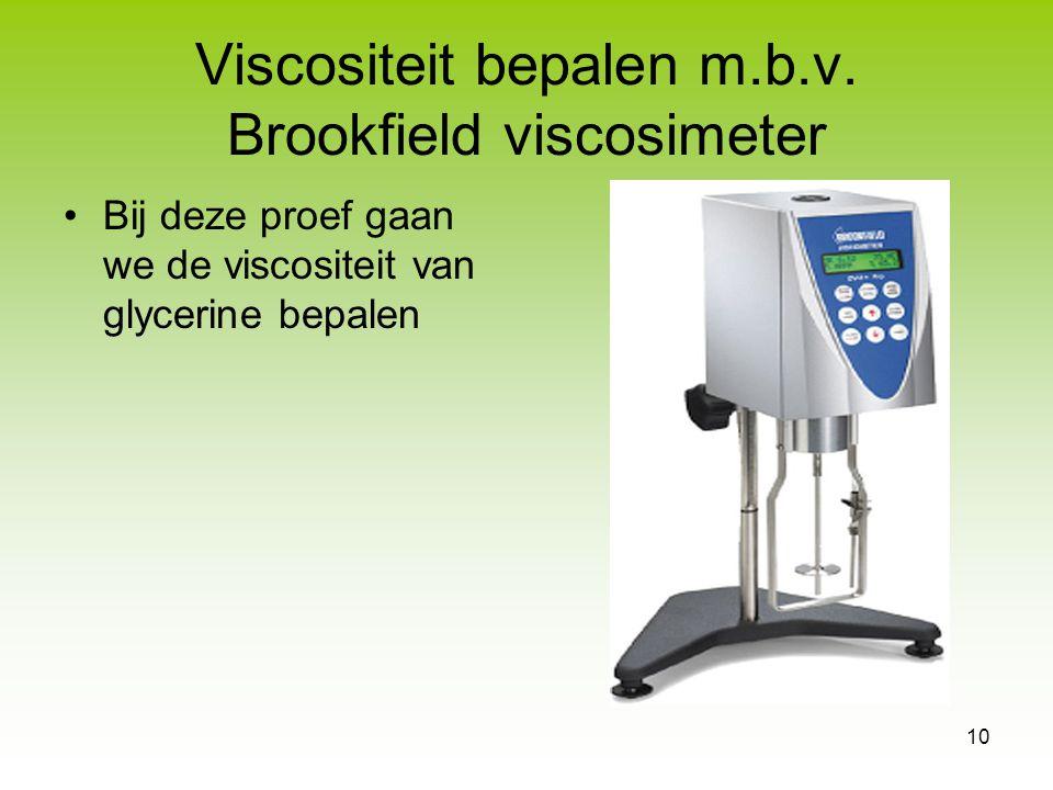 10 Viscositeit bepalen m.b.v. Brookfield viscosimeter Bij deze proef gaan we de viscositeit van glycerine bepalen