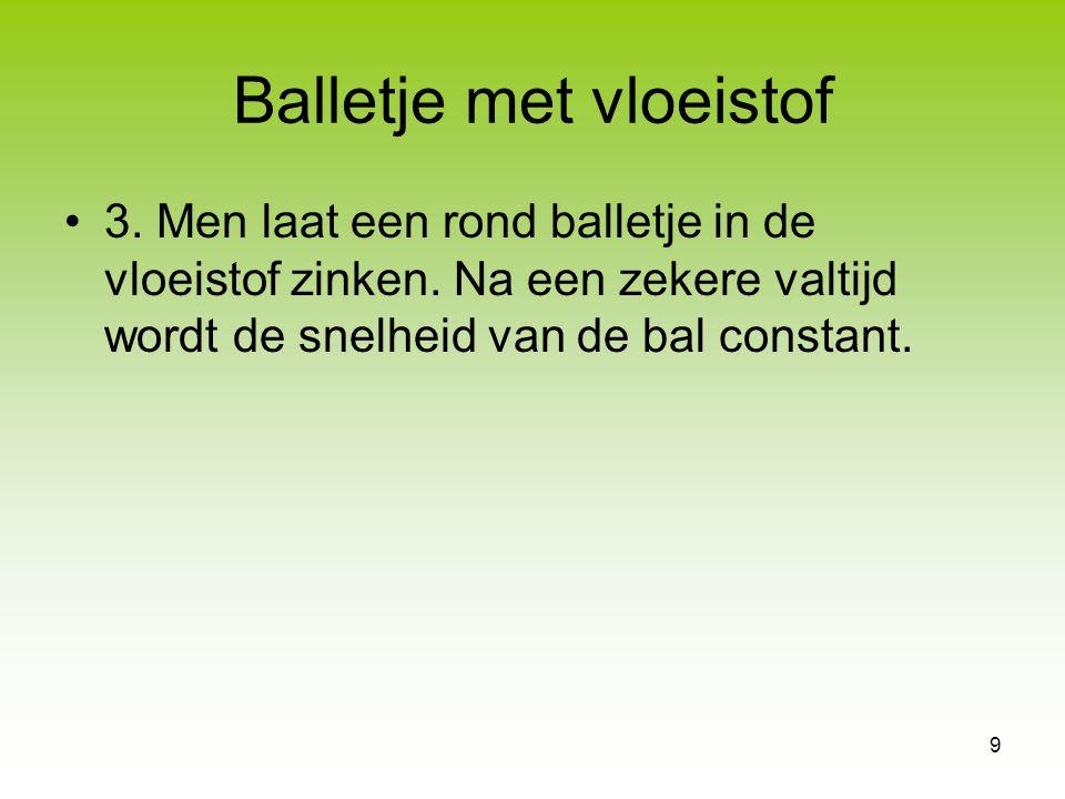9 Balletje met vloeistof 3. Men laat een rond balletje in de vloeistof zinken. Na een zekere valtijd wordt de snelheid van de bal constant.