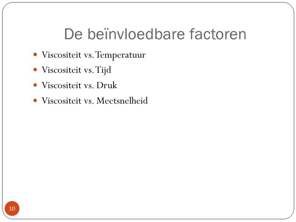 De beïnvloedbare factoren Viscositeit vs. Temperatuur Viscositeit vs. Tijd Viscositeit vs. Druk Viscositeit vs. Meetsnelheid 10
