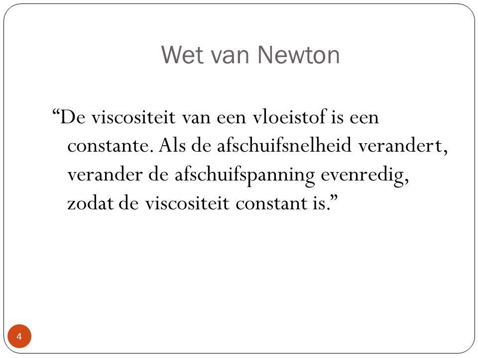 """Wet van Newton """"De viscositeit van een vloeistof is een constante. Als de afschuifsnelheid verandert, verander de afschuifspanning evenredig, zodat de"""