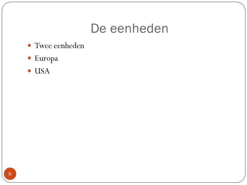 De eenheden Twee eenheden Europa USA 8