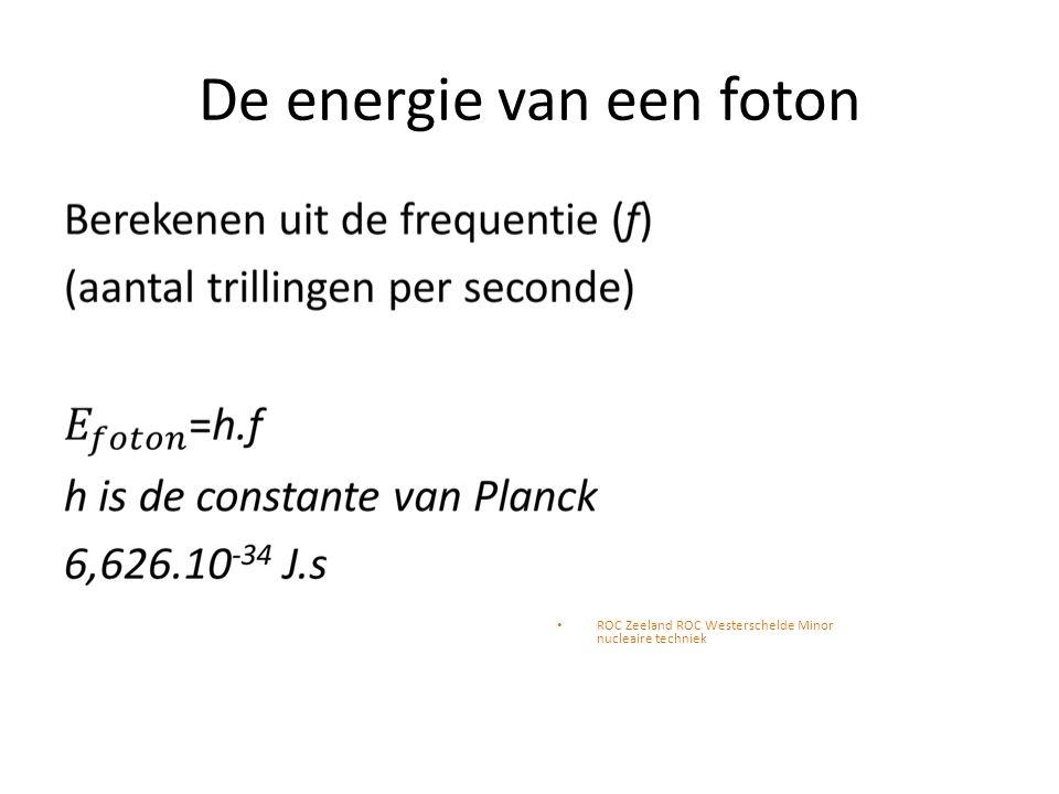 De energie van een foton ROC Zeeland ROC Westerschelde Minor nucleaire techniek