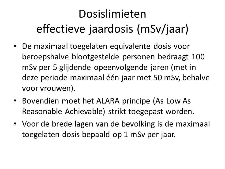 Dosislimieten effectieve jaardosis (mSv/jaar) De maximaal toegelaten equivalente dosis voor beroepshalve blootgestelde personen bedraagt 100 mSv per 5