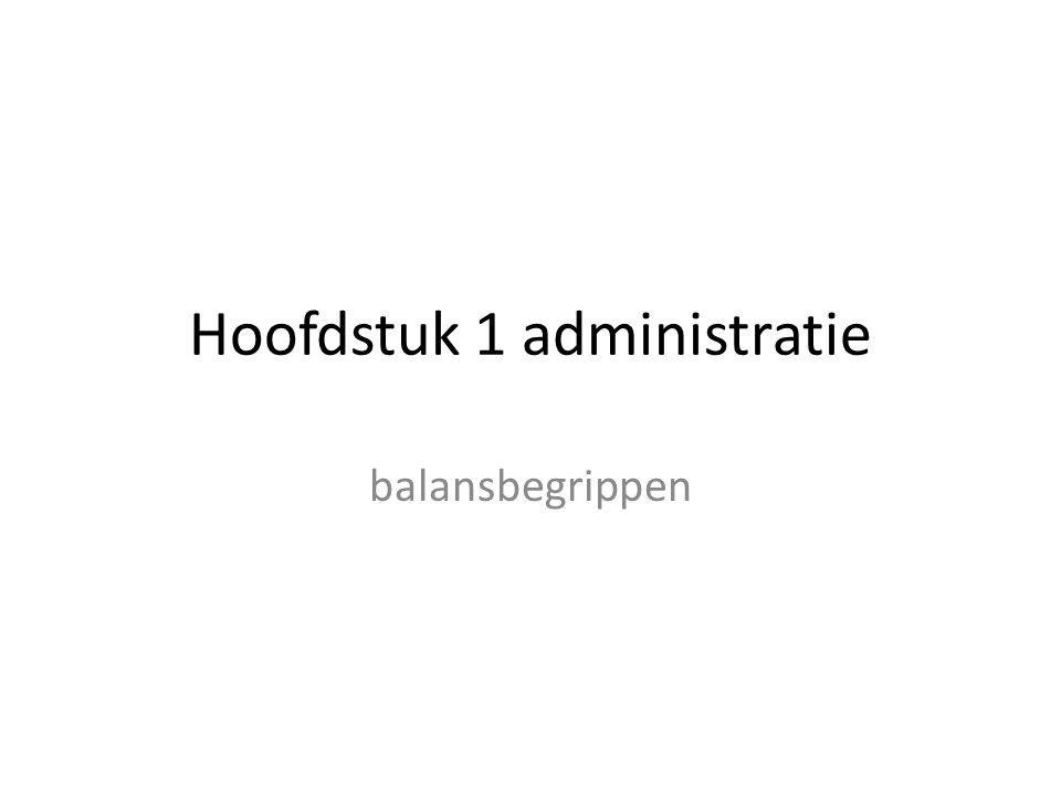 Hoofdstuk 1 administratie balansbegrippen