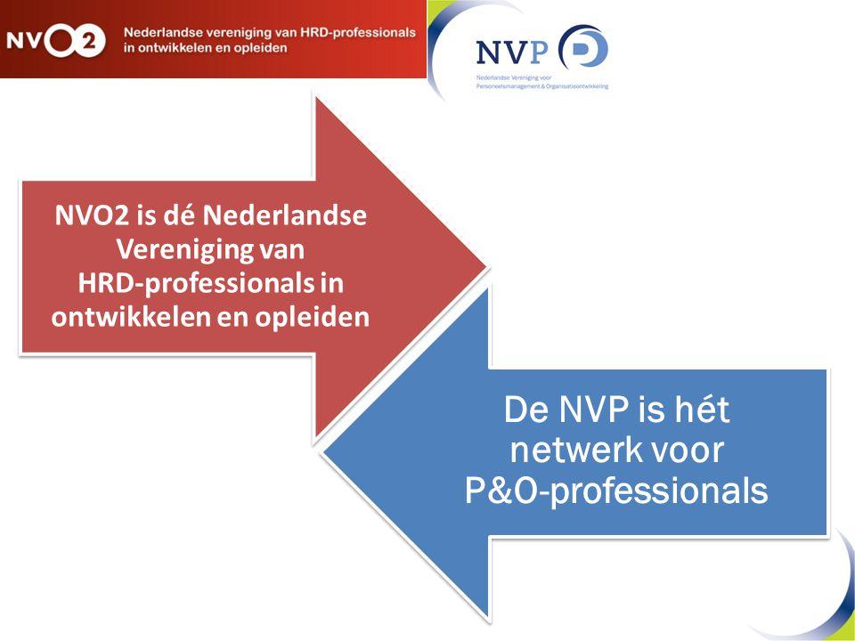 De NVP is hét netwerk voor P&O-professionals NVO2 is dé Nederlandse Vereniging van HRD-professionals in ontwikkelen en opleiden