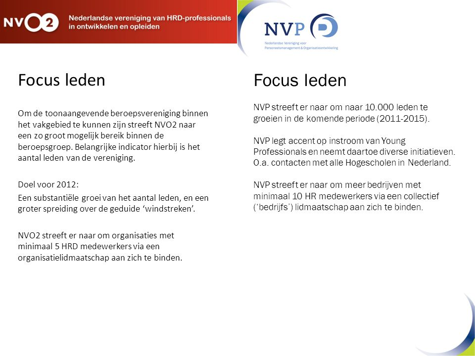 Focus leden Om de toonaangevende beroepsvereniging binnen het vakgebied te kunnen zijn streeft NVO2 naar een zo groot mogelijk bereik binnen de beroepsgroep.