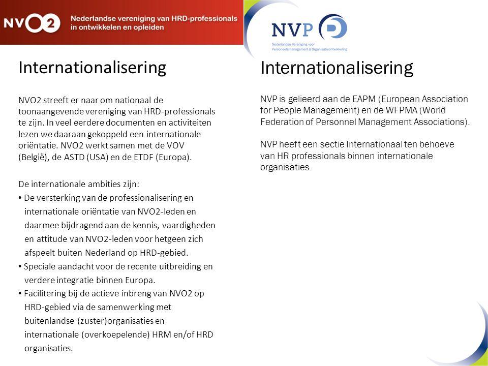 Internationalisering NVO2 streeft er naar om nationaal de toonaangevende vereniging van HRD-professionals te zijn.