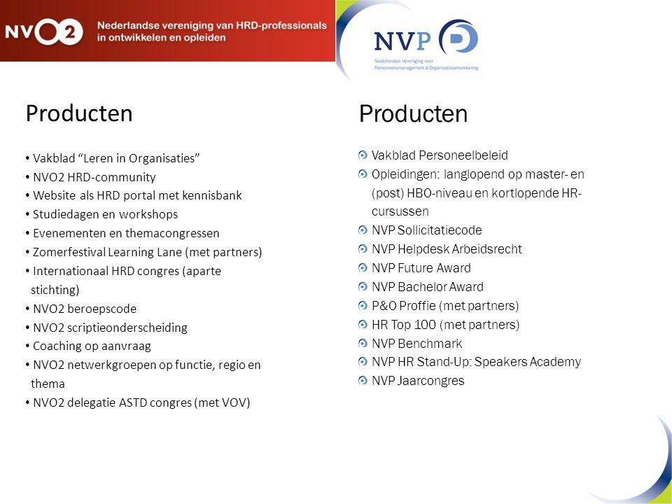"""Producten Vakblad """"Leren in Organisaties"""" NVO2 HRD-community Website als HRD portal met kennisbank Studiedagen en workshops Evenementen en themacongre"""