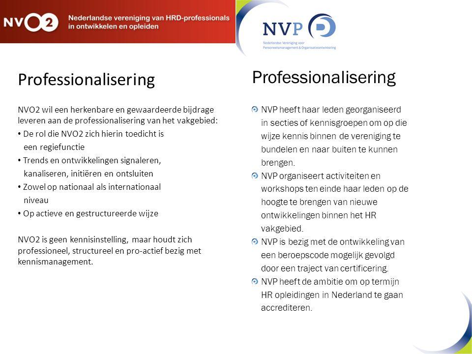 Professionalisering NVO2 wil een herkenbare en gewaardeerde bijdrage leveren aan de professionalisering van het vakgebied: De rol die NVO2 zich hierin toedicht is een regiefunctie Trends en ontwikkelingen signaleren, kanaliseren, initiëren en ontsluiten Zowel op nationaal als internationaal niveau Op actieve en gestructureerde wijze NVO2 is geen kennisinstelling, maar houdt zich professioneel, structureel en pro-actief bezig met kennismanagement.