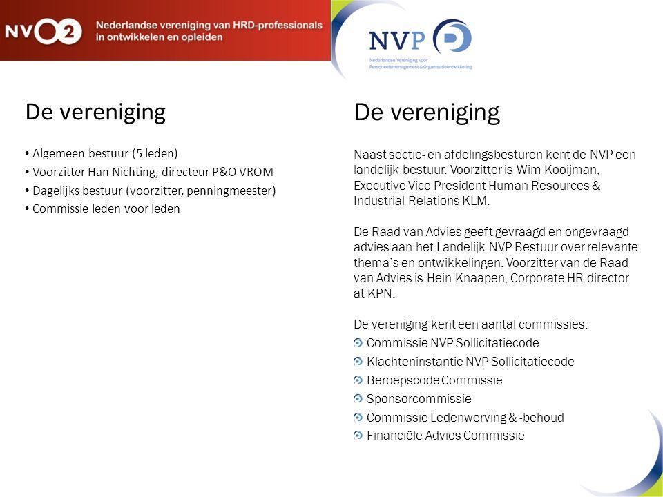 De vereniging Algemeen bestuur (5 leden) Voorzitter Han Nichting, directeur P&O VROM Dagelijks bestuur (voorzitter, penningmeester) Commissie leden vo