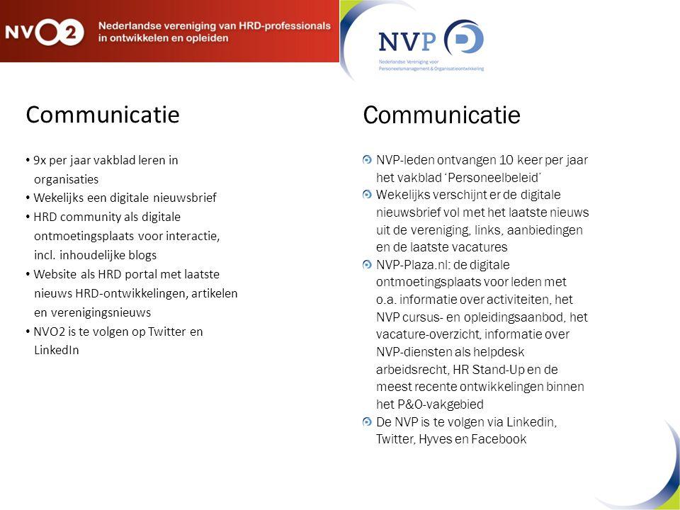 Communicatie 9x per jaar vakblad leren in organisaties Wekelijks een digitale nieuwsbrief HRD community als digitale ontmoetingsplaats voor interactie, incl.