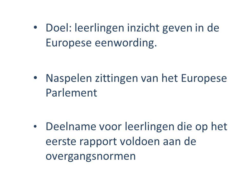 Doel: leerlingen inzicht geven in de Europese eenwording. Naspelen zittingen van het Europese Parlement Deelname voor leerlingen die op het eerste rap