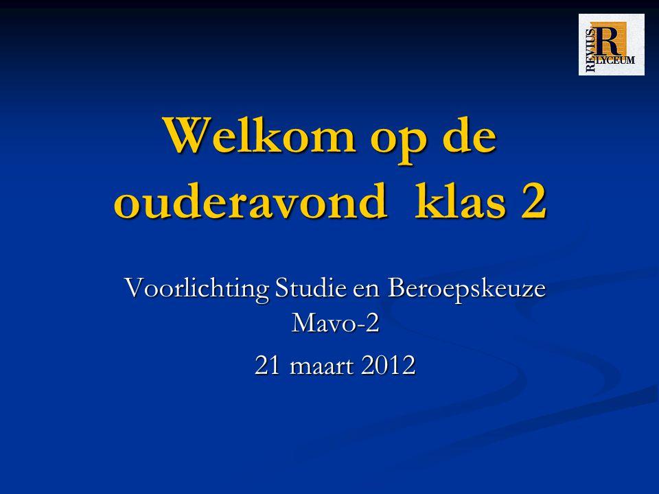 Welkom op de ouderavond klas 2 Voorlichting Studie en Beroepskeuze Mavo-2 21 maart 2012