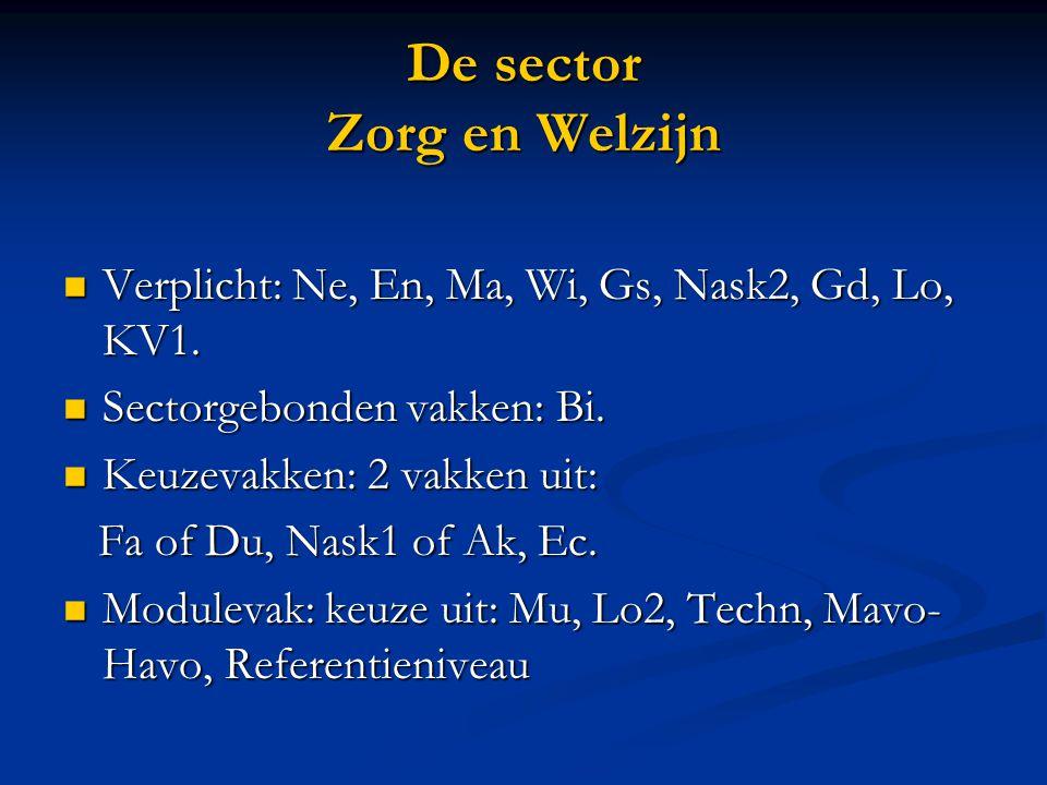 De sector Zorg en Welzijn Verplicht: Ne, En, Ma, Wi, Gs, Nask2, Gd, Lo, KV1. Verplicht: Ne, En, Ma, Wi, Gs, Nask2, Gd, Lo, KV1. Sectorgebonden vakken: