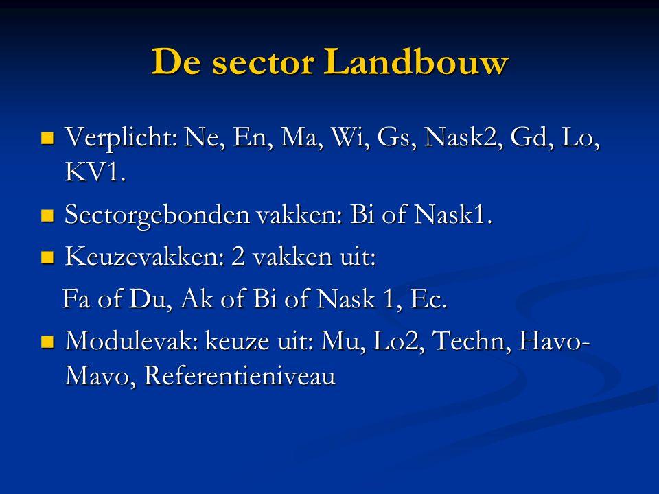 De sector Landbouw Verplicht: Ne, En, Ma, Wi, Gs, Nask2, Gd, Lo, KV1. Verplicht: Ne, En, Ma, Wi, Gs, Nask2, Gd, Lo, KV1. Sectorgebonden vakken: Bi of