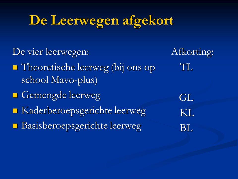 De Leerwegen afgekort De vier leerwegen: Theoretische leerweg (bij ons op school Mavo-plus) Theoretische leerweg (bij ons op school Mavo-plus) Gemengd