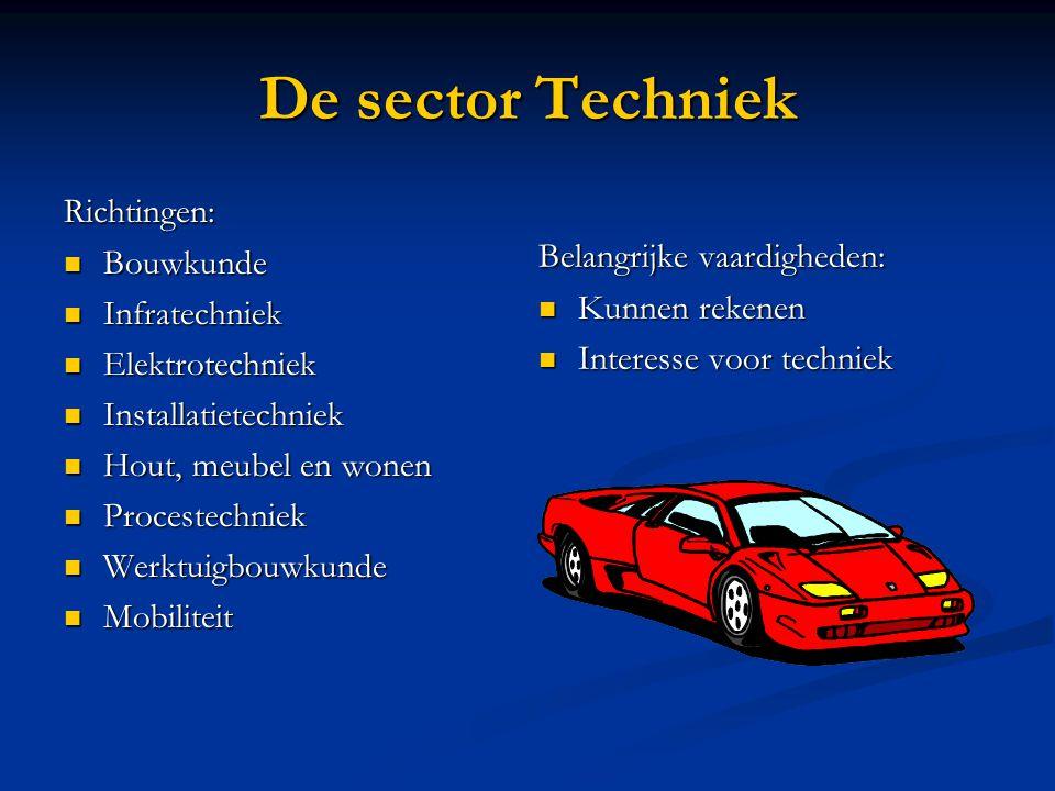 De sector Techniek Richtingen: Bouwkunde Bouwkunde Infratechniek Infratechniek Elektrotechniek Elektrotechniek Installatietechniek Installatietechniek