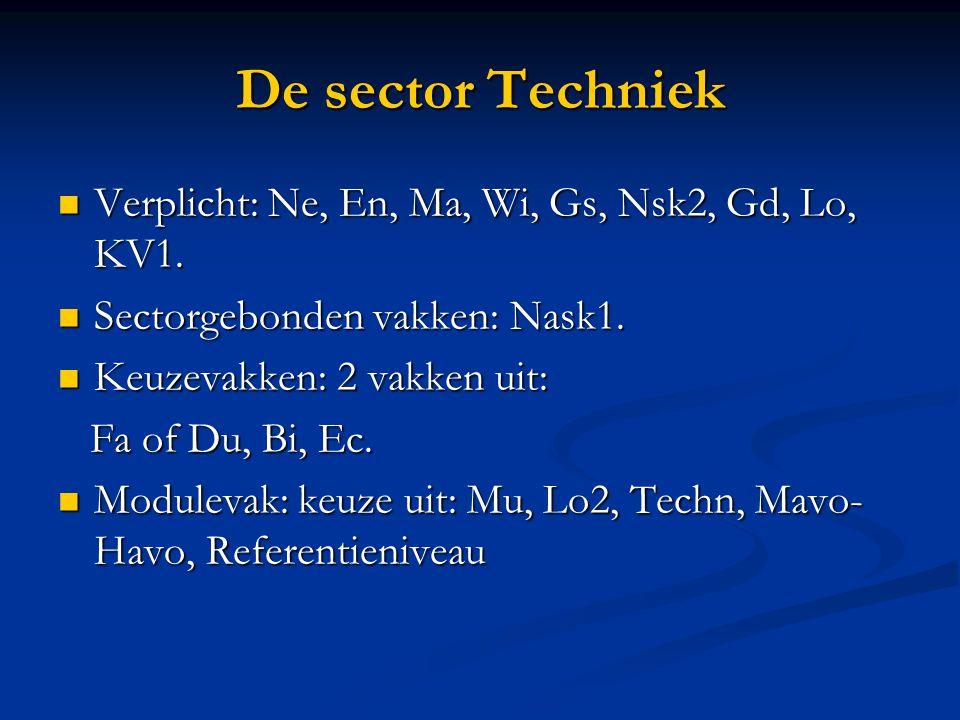 De sector Techniek Verplicht: Ne, En, Ma, Wi, Gs, Nsk2, Gd, Lo, KV1. Verplicht: Ne, En, Ma, Wi, Gs, Nsk2, Gd, Lo, KV1. Sectorgebonden vakken: Nask1. S