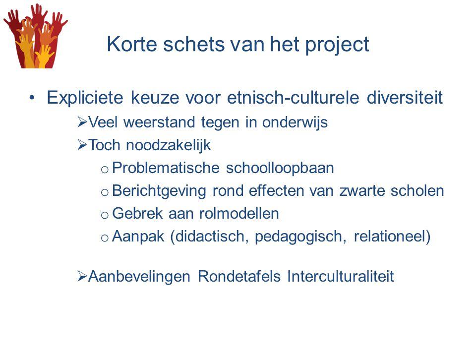 Korte schets van het project Expliciete keuze voor etnisch-culturele diversiteit  Veel weerstand tegen in onderwijs  Toch noodzakelijk o Problematis