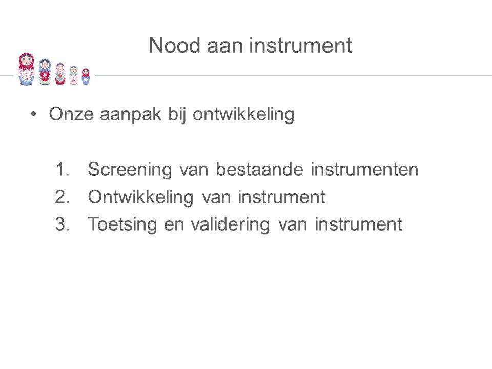 Nood aan instrument Onze aanpak bij ontwikkeling 1. Screening van bestaande instrumenten 2. Ontwikkeling van instrument 3. Toetsing en validering van