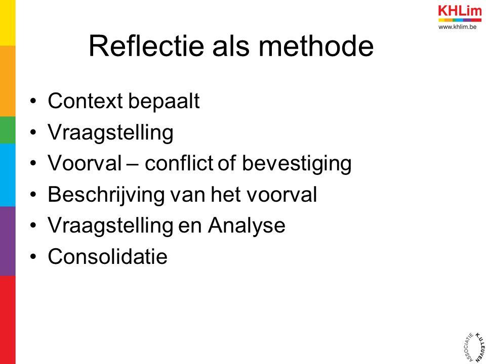 Reflectie als methode Context bepaalt Vraagstelling Voorval – conflict of bevestiging Beschrijving van het voorval Vraagstelling en Analyse Consolidat