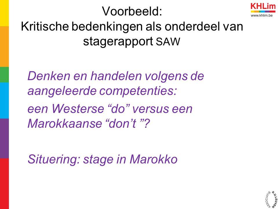 """Voorbeeld: Kritische bedenkingen als onderdeel van stagerapport SAW Denken en handelen volgens de aangeleerde competenties: een Westerse """"do"""" versus e"""