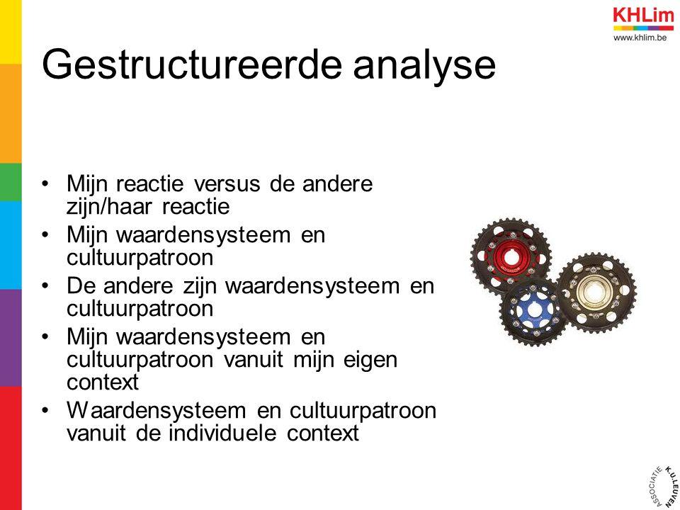 Gestructureerde analyse Mijn reactie versus de andere zijn/haar reactie Mijn waardensysteem en cultuurpatroon De andere zijn waardensysteem en cultuur