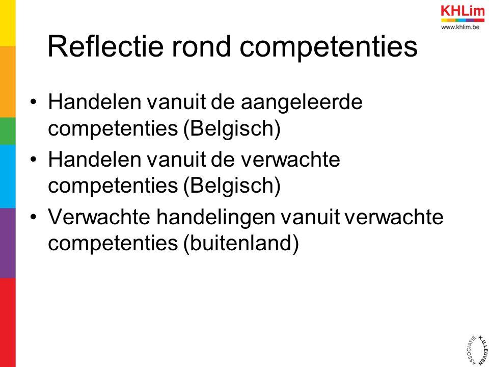 Reflectie rond competenties Handelen vanuit de aangeleerde competenties (Belgisch) Handelen vanuit de verwachte competenties (Belgisch) Verwachte hand