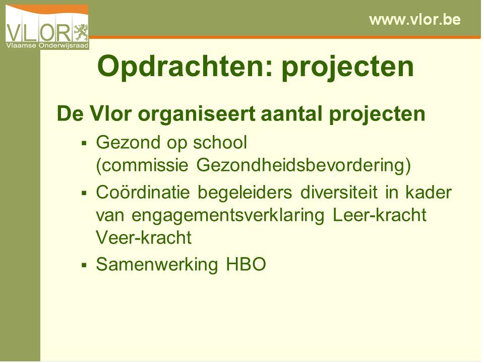 Opdrachten: projecten De Vlor organiseert aantal projecten  Gezond op school (commissie Gezondheidsbevordering)  Coördinatie begeleiders diversiteit