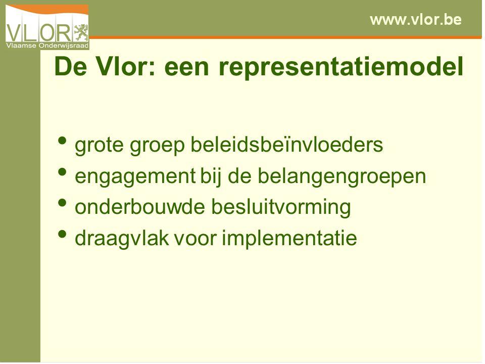 De Vlor: een representatiemodel grote groep beleidsbeïnvloeders engagement bij de belangengroepen onderbouwde besluitvorming draagvlak voor implementatie