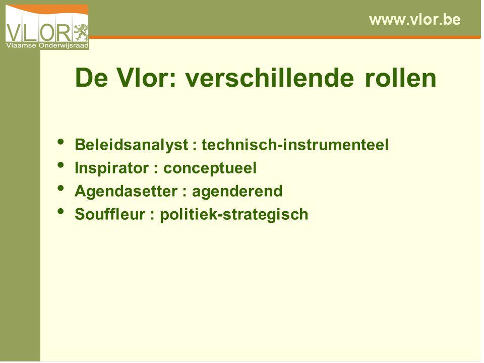 De Vlor: verschillende rollen Beleidsanalyst : technisch-instrumenteel Inspirator : conceptueel Agendasetter : agenderend Souffleur : politiek-strateg