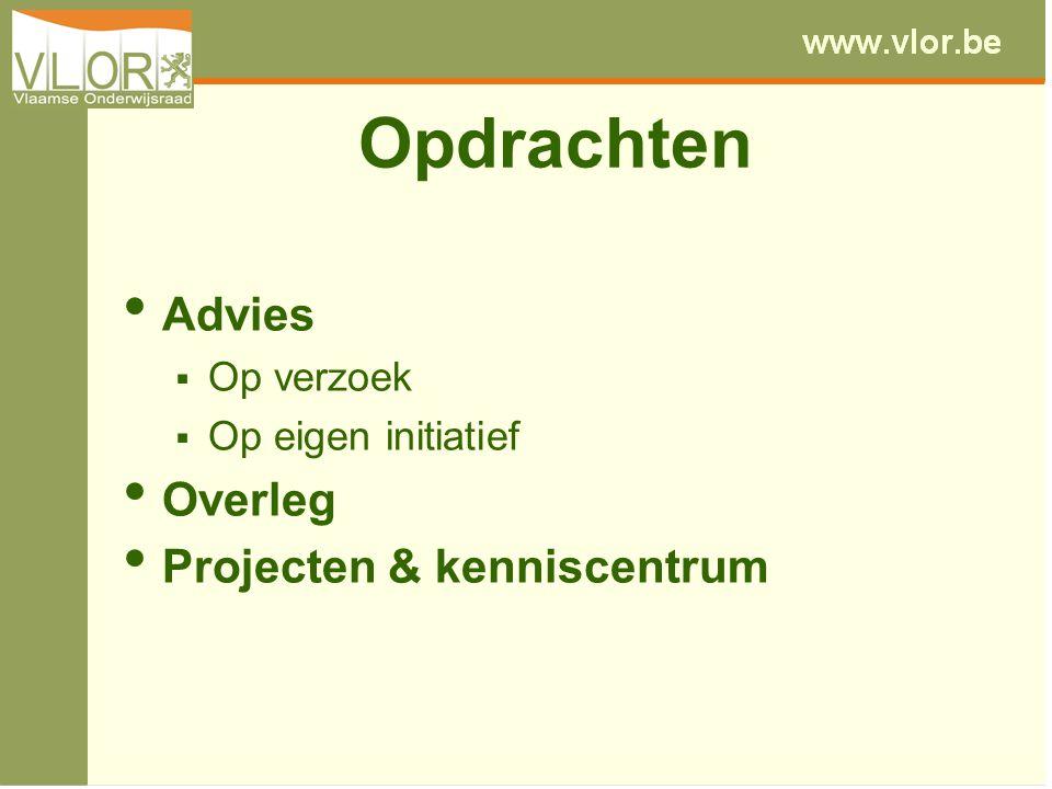 Opdrachten Advies  Op verzoek  Op eigen initiatief Overleg Projecten & kenniscentrum