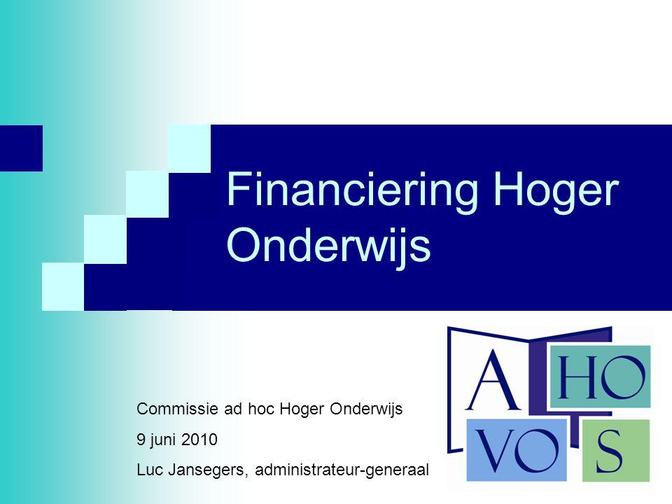 1 Financiering Hoger Onderwijs Commissie ad hoc Hoger Onderwijs 9 juni 2010 Luc Jansegers, administrateur-generaal