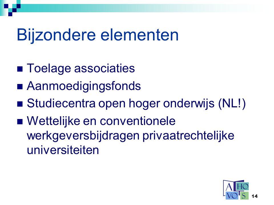 14 Bijzondere elementen Toelage associaties Aanmoedigingsfonds Studiecentra open hoger onderwijs (NL!) Wettelijke en conventionele werkgeversbijdragen