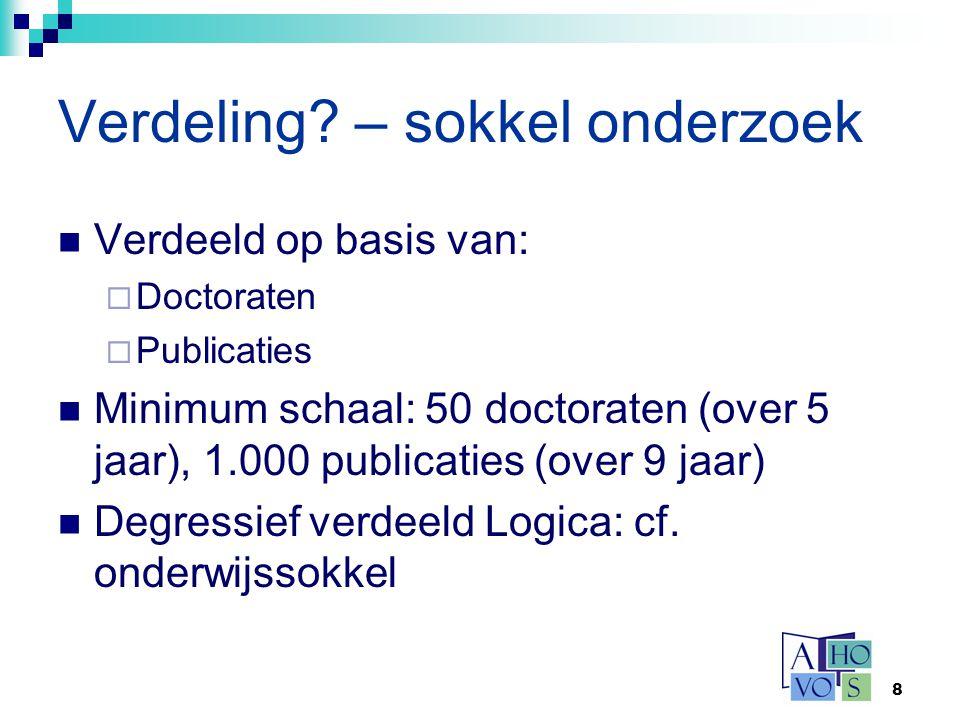 8 Verdeling? – sokkel onderzoek Verdeeld op basis van:  Doctoraten  Publicaties Minimum schaal: 50 doctoraten (over 5 jaar), 1.000 publicaties (over