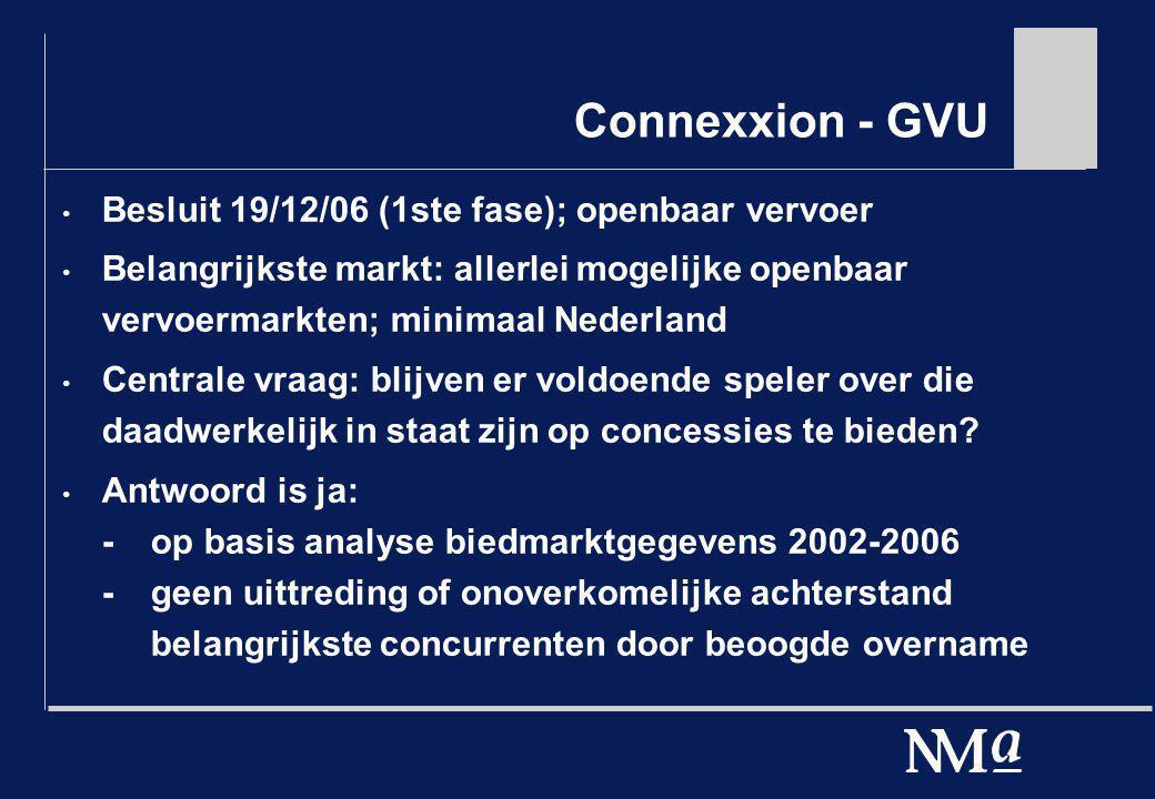Connexxion - GVU Besluit 19/12/06 (1ste fase); openbaar vervoer Belangrijkste markt: allerlei mogelijke openbaar vervoermarkten; minimaal Nederland Ce