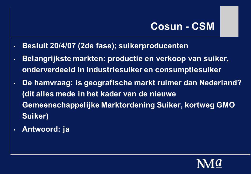 Cosun - CSM Besluit 20/4/07 (2de fase); suikerproducenten Belangrijkste markten: productie en verkoop van suiker, onderverdeeld in industriesuiker en