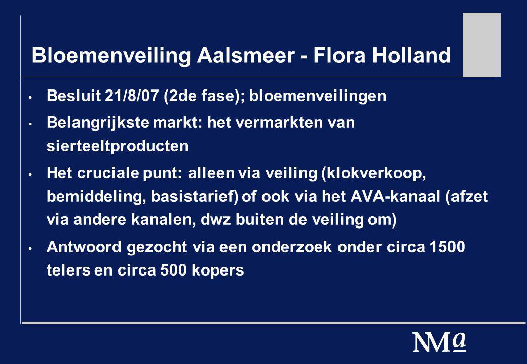 Bloemenveiling Aalsmeer - Flora Holland Besluit 21/8/07 (2de fase); bloemenveilingen Belangrijkste markt: het vermarkten van sierteeltproducten Het cr
