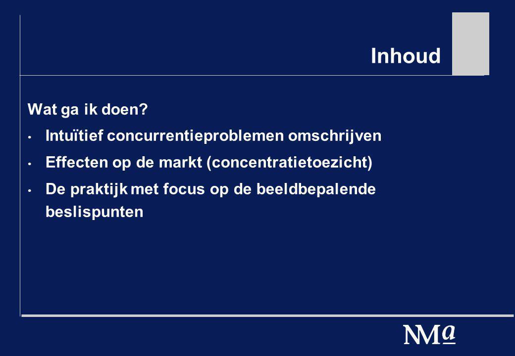 Inhoud Wat ga ik doen? Intuïtief concurrentieproblemen omschrijven Effecten op de markt (concentratietoezicht) De praktijk met focus op de beeldbepale