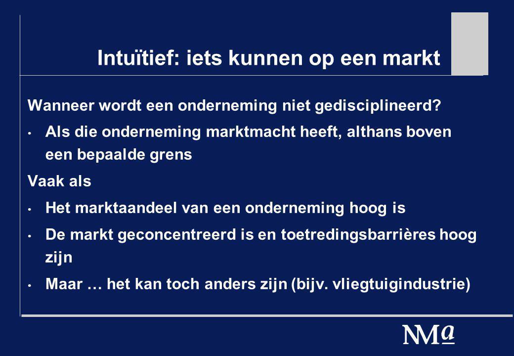 Intuïtief: iets kunnen op een markt Wanneer wordt een onderneming niet gedisciplineerd? Als die onderneming marktmacht heeft, althans boven een bepaal