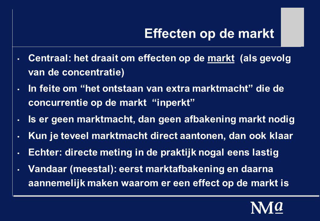 Effecten op de markt (Toch nog) enige noties Relevante markt: meer een stuk gereedschap Bepaling relevante markt is digitaal Directe meting/vaststelling van de concurrentiële situatie is slechts één stap, maar dit geldt ook als de marktafbakening de facto de enige essentiële stap is