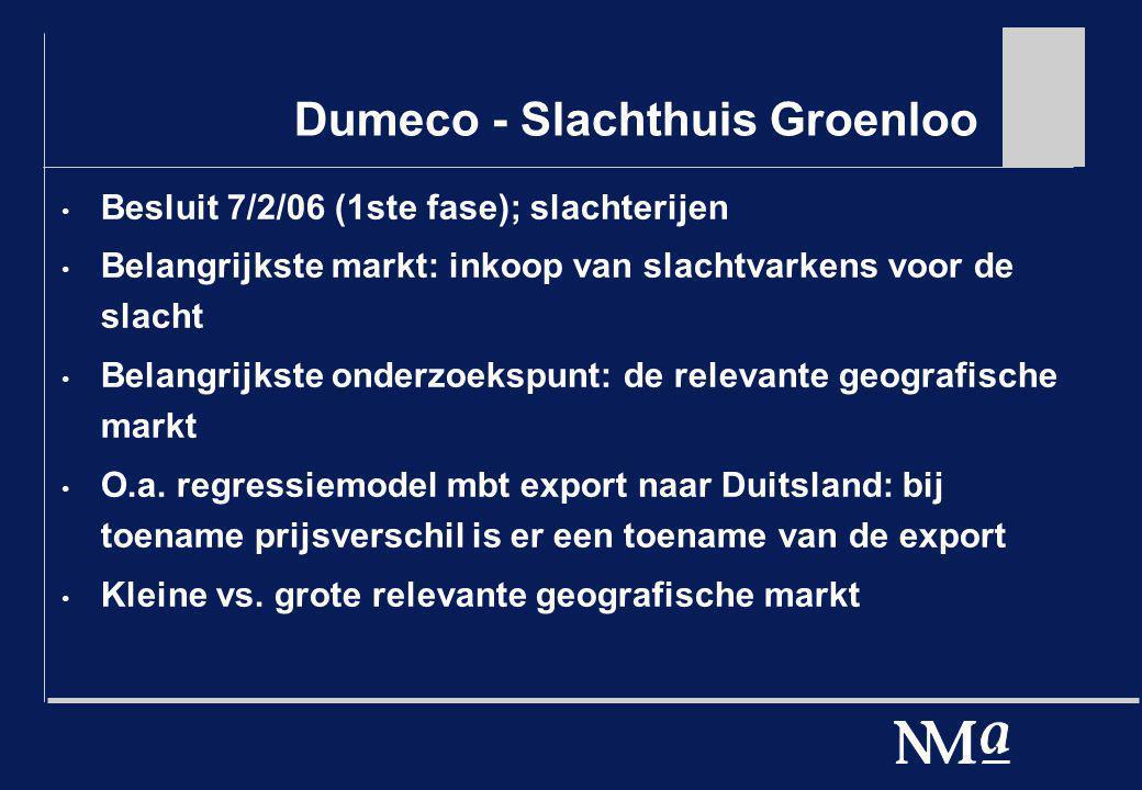 Dumeco - Slachthuis Groenloo Besluit 7/2/06 (1ste fase); slachterijen Belangrijkste markt: inkoop van slachtvarkens voor de slacht Belangrijkste onder