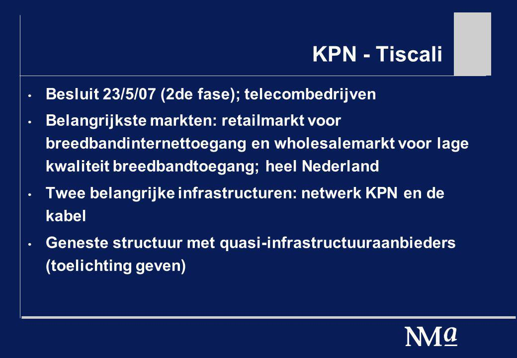 KPN - Tiscali Besluit 23/5/07 (2de fase); telecombedrijven Belangrijkste markten: retailmarkt voor breedbandinternettoegang en wholesalemarkt voor lag