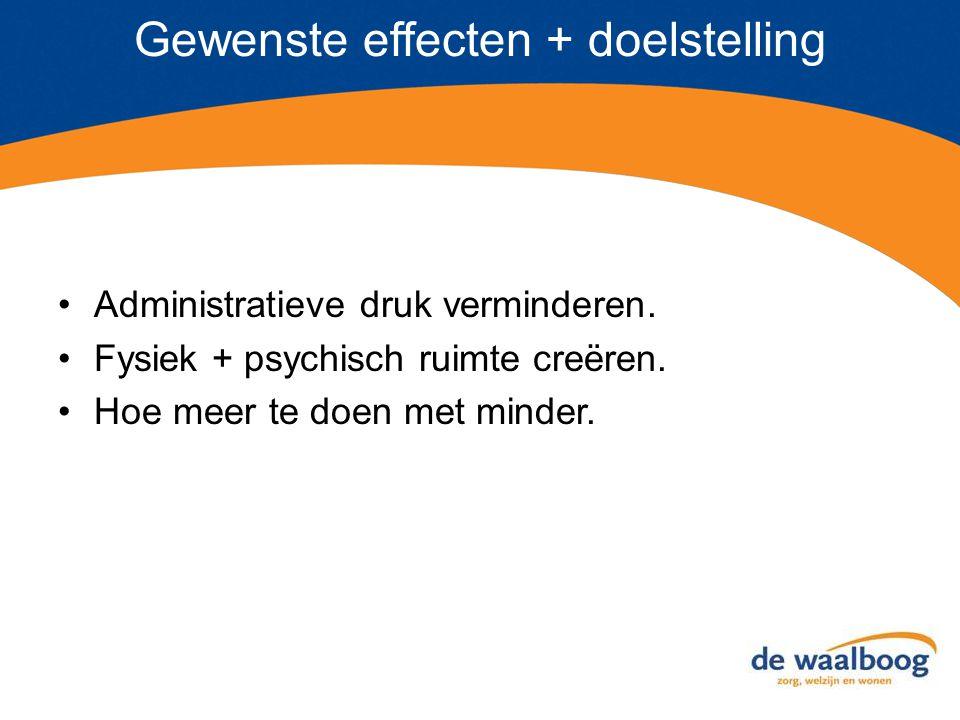 Gewenste effecten + doelstelling Administratieve druk verminderen.