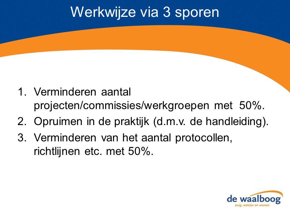 Werkwijze via 3 sporen 1.Verminderen aantal projecten/commissies/werkgroepen met 50%. 2.Opruimen in de praktijk (d.m.v. de handleiding). 3.Verminderen