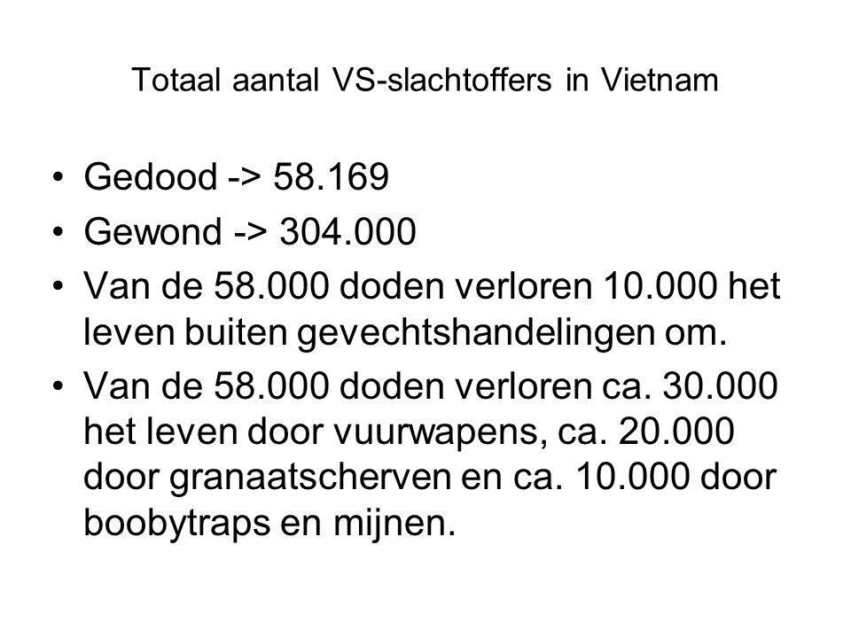 Totaal aantal VS-slachtoffers in Vietnam Gedood -> 58.169 Gewond -> 304.000 Van de 58.000 doden verloren 10.000 het leven buiten gevechtshandelingen om.