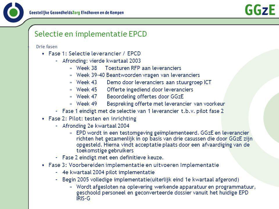 Selectie en implementatie EPCD –Drie fasen Fase 1: Selectie leverancier / EPCD –Afronding: vierde kwartaal 2003 »Week 38 Toesturen RFP aan leverancier